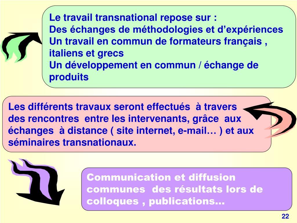 Le travail transnational repose sur :