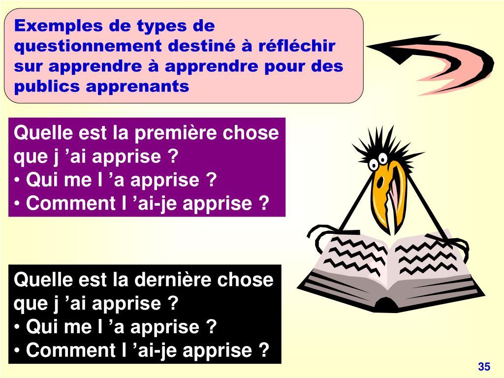 Exemples de types de questionnement destiné à réfléchir sur apprendre à apprendre pour des publics apprenants