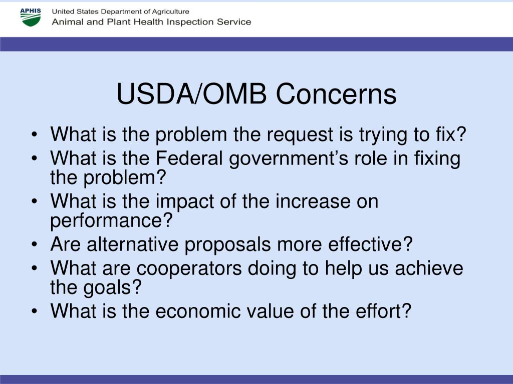 USDA/OMB Concerns