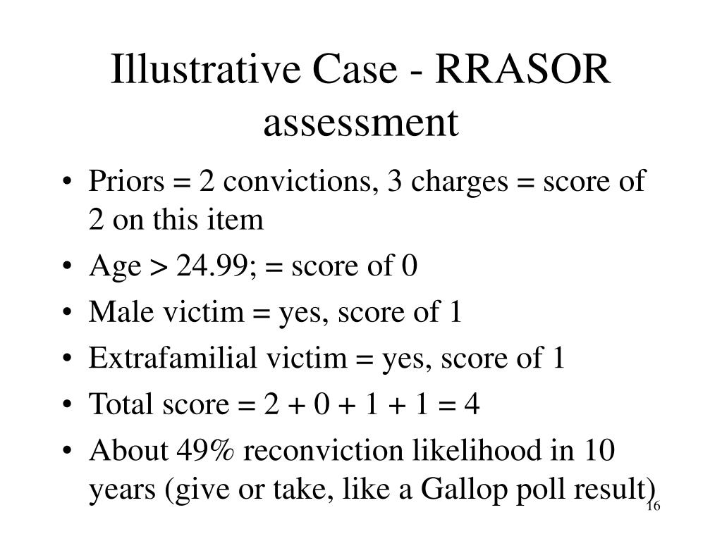 Illustrative Case - RRASOR assessment