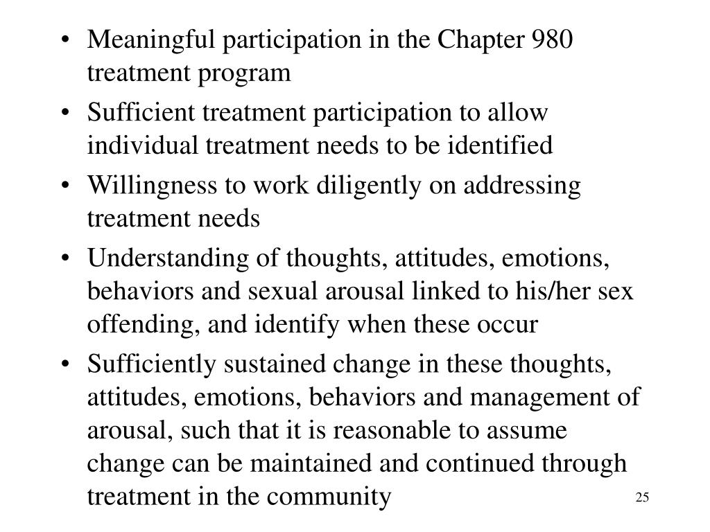 Meaningful participation in the Chapter 980 treatment program