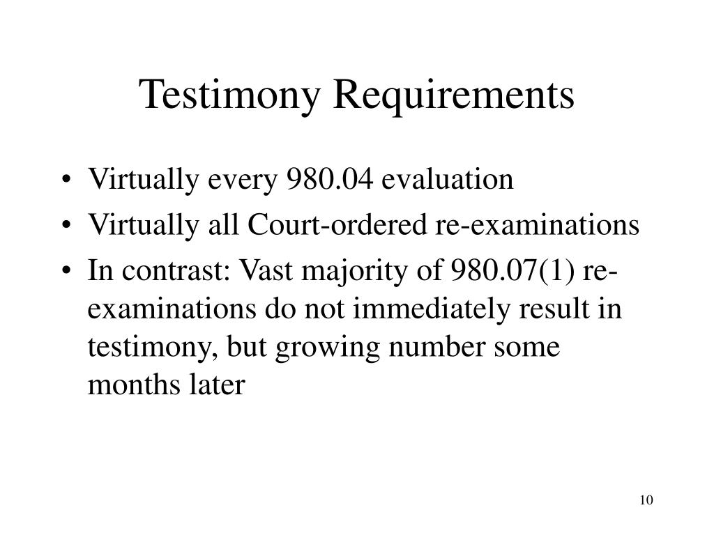 Testimony Requirements
