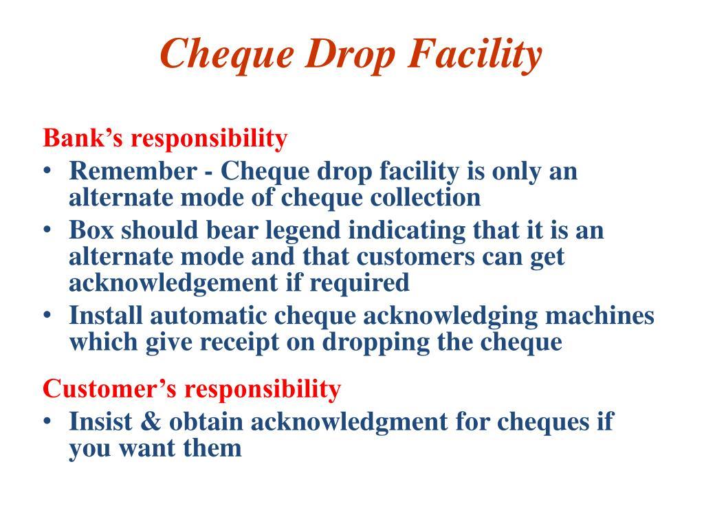 Cheque Drop Facility