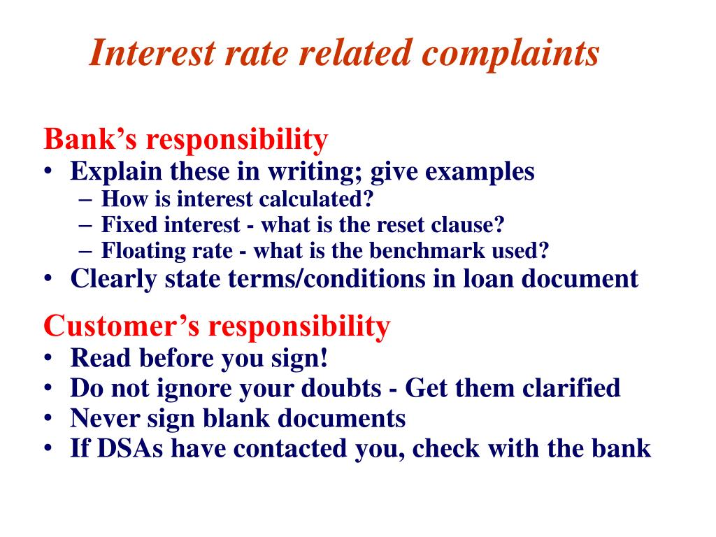 Interest rate related complaints