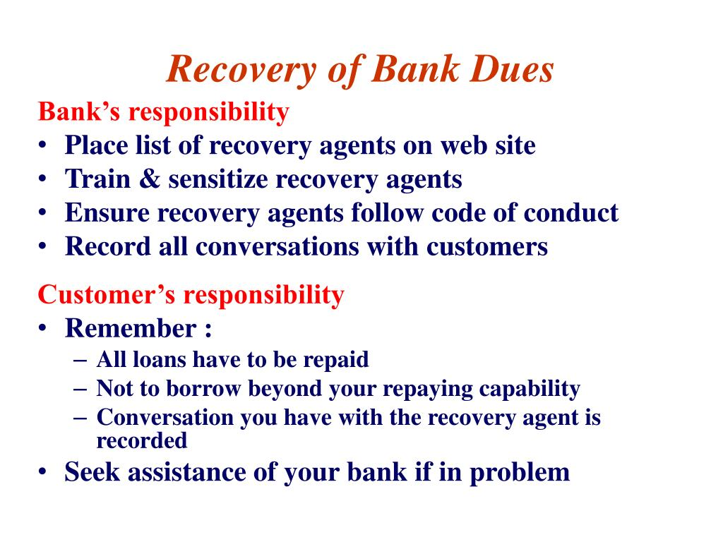 Recovery of Bank Dues