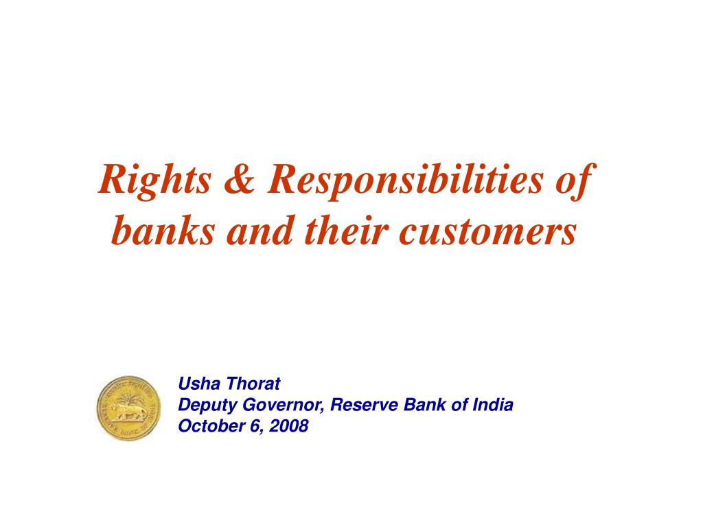 Rights & Responsibilities of banks and their customers
