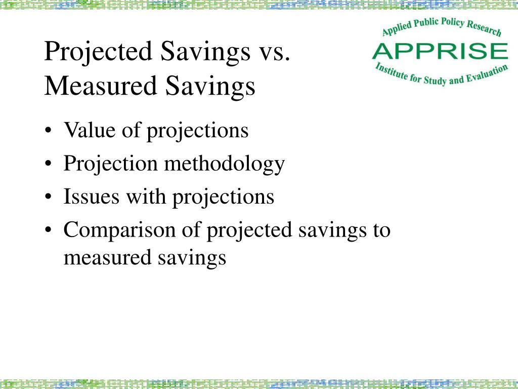 Projected Savings vs.
