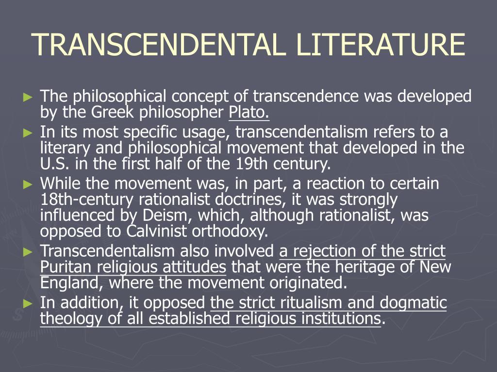 TRANSCENDENTAL LITERATURE