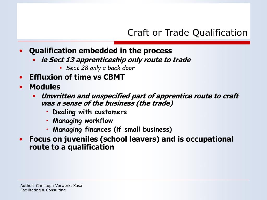 Craft or Trade Qualification