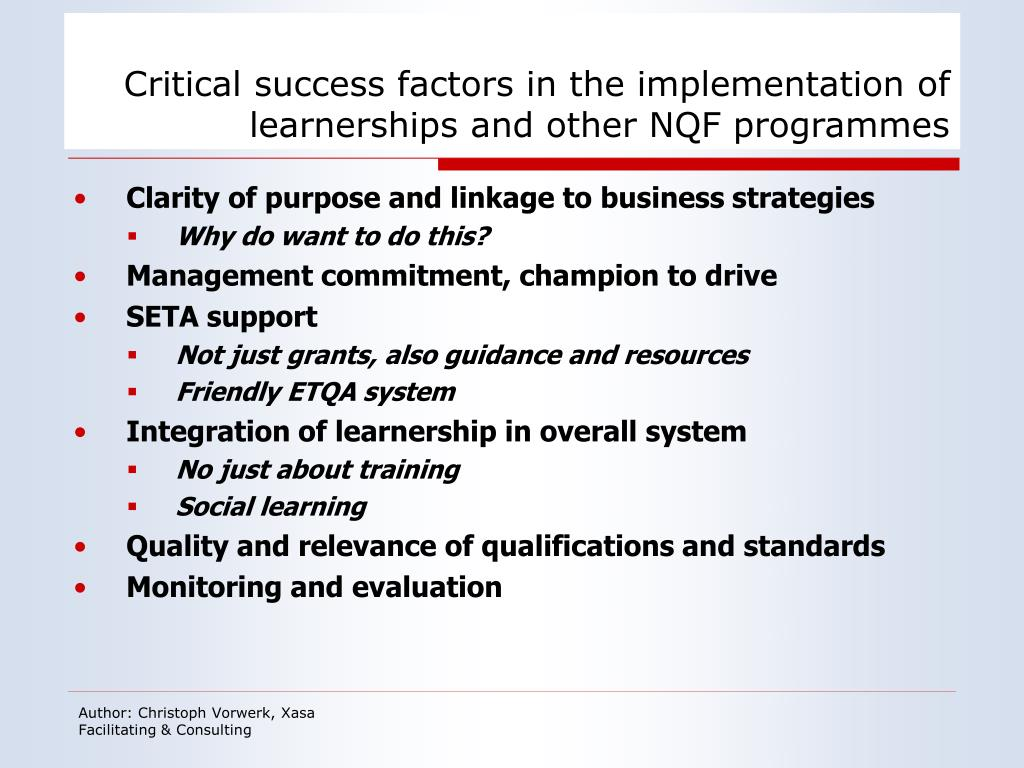 Critical success factors in the implementation of learnerships and other NQF programmes