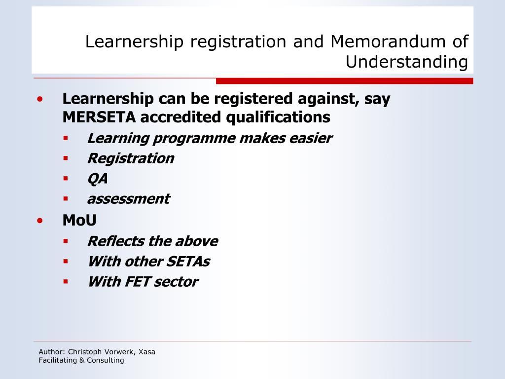 Learnership registration and Memorandum of Understanding