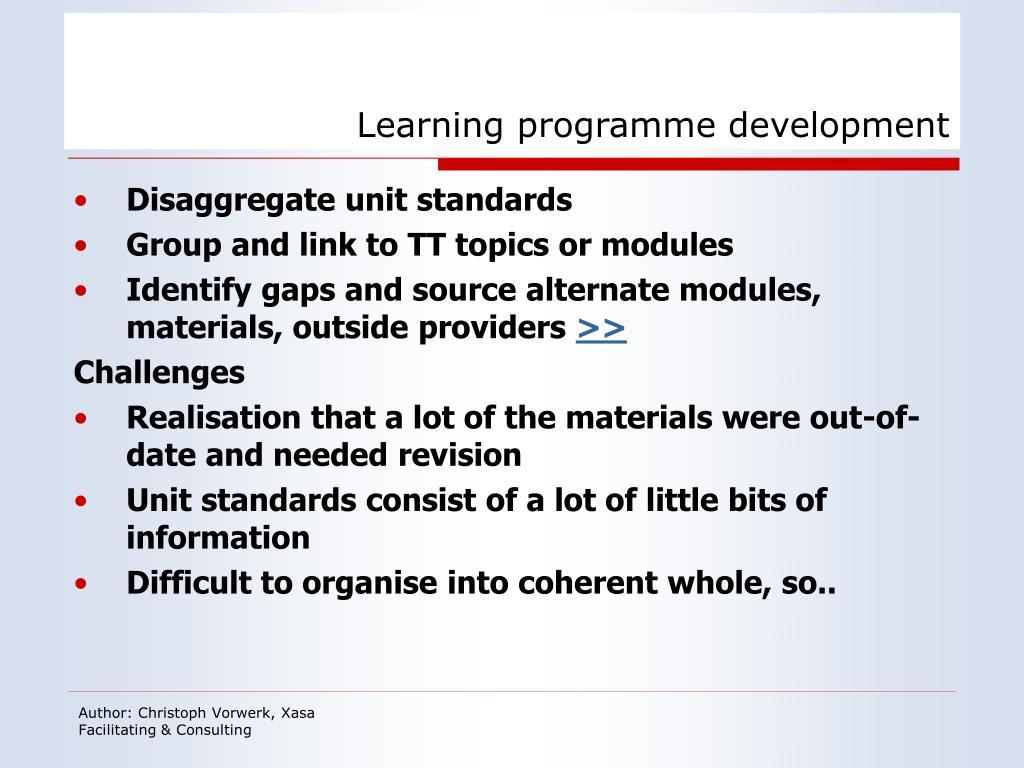 Learning programme development