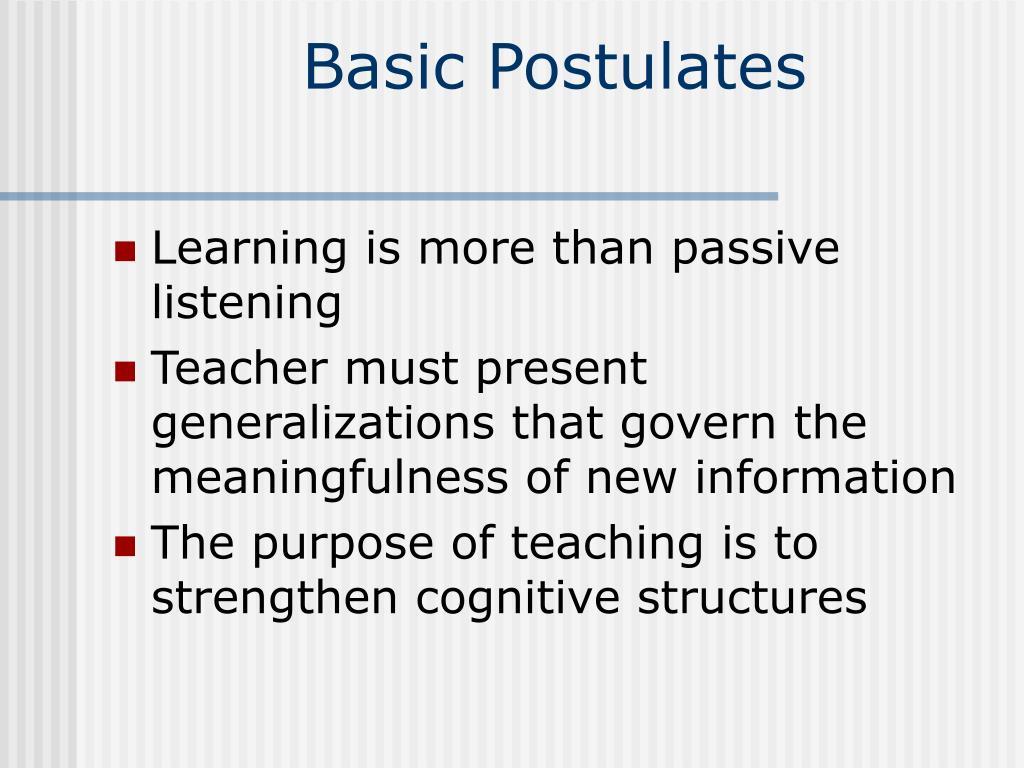 Basic Postulates