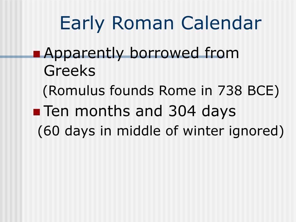 Early Roman Calendar