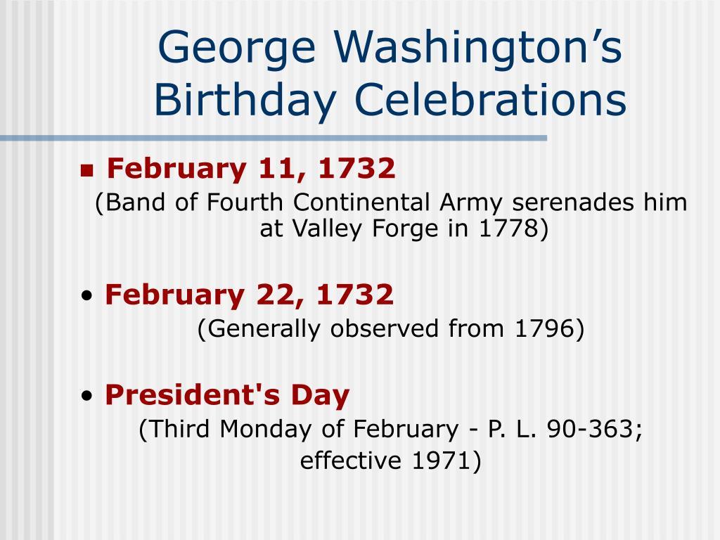 George Washington's Birthday Celebrations