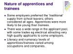nature of apprentices and trainees