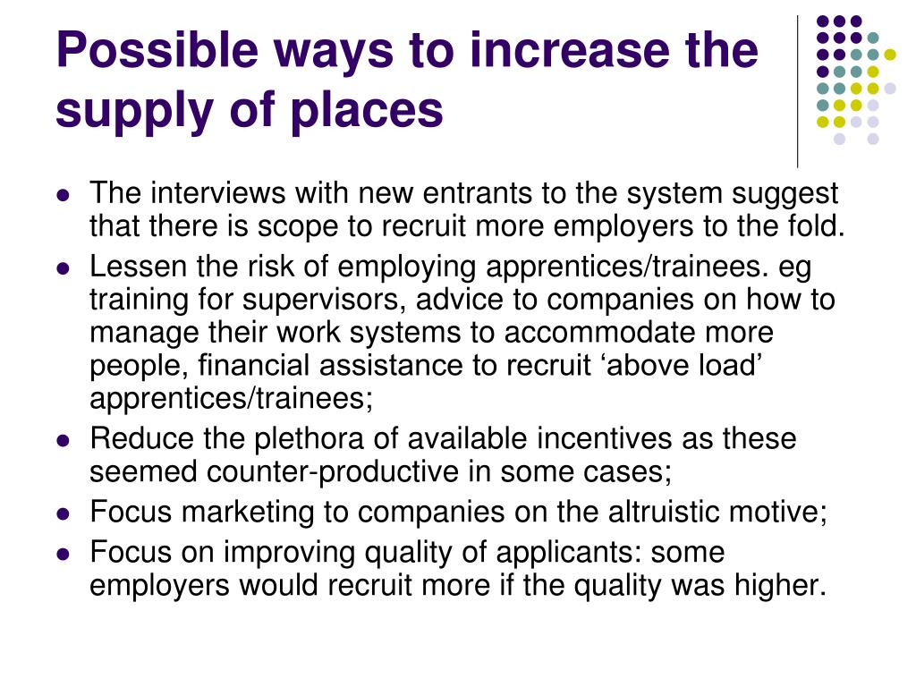 Possible ways to increase the supply of places