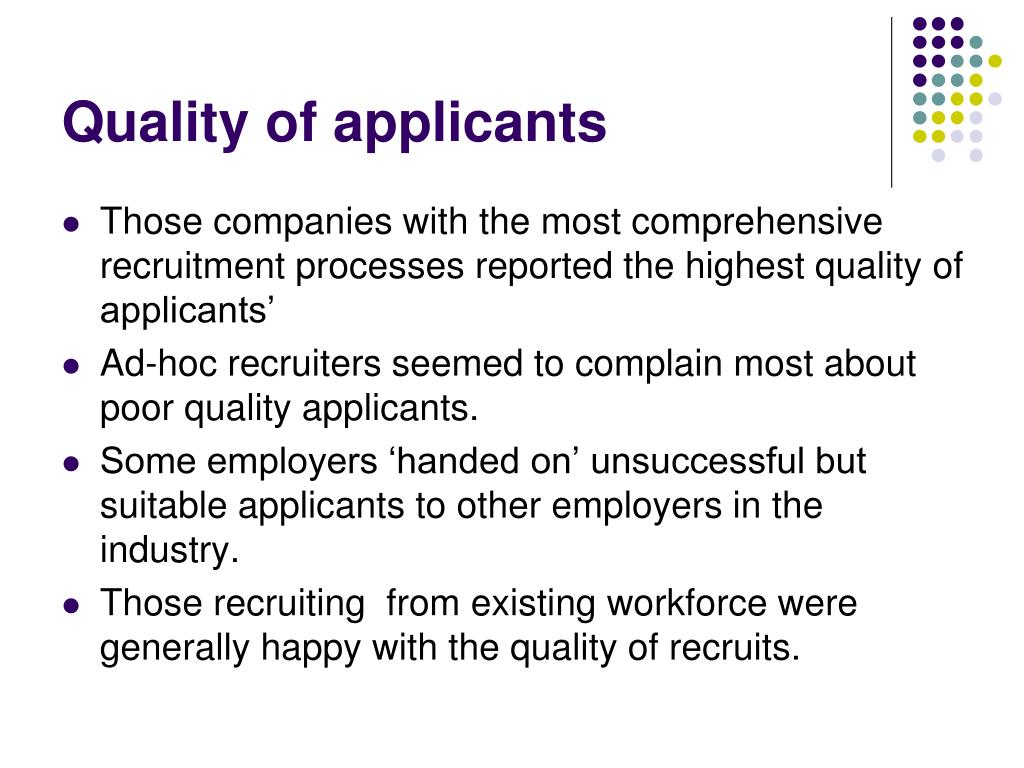 Quality of applicants