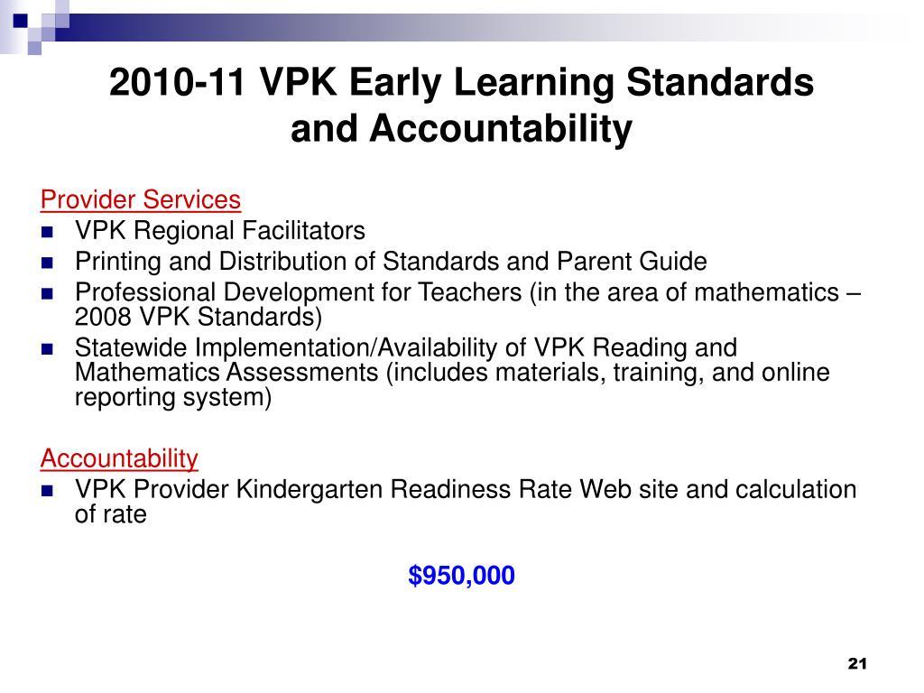 2010-11 VPK Early Learning Standards