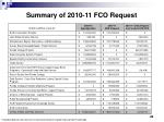 summary of 2010 11 fco request