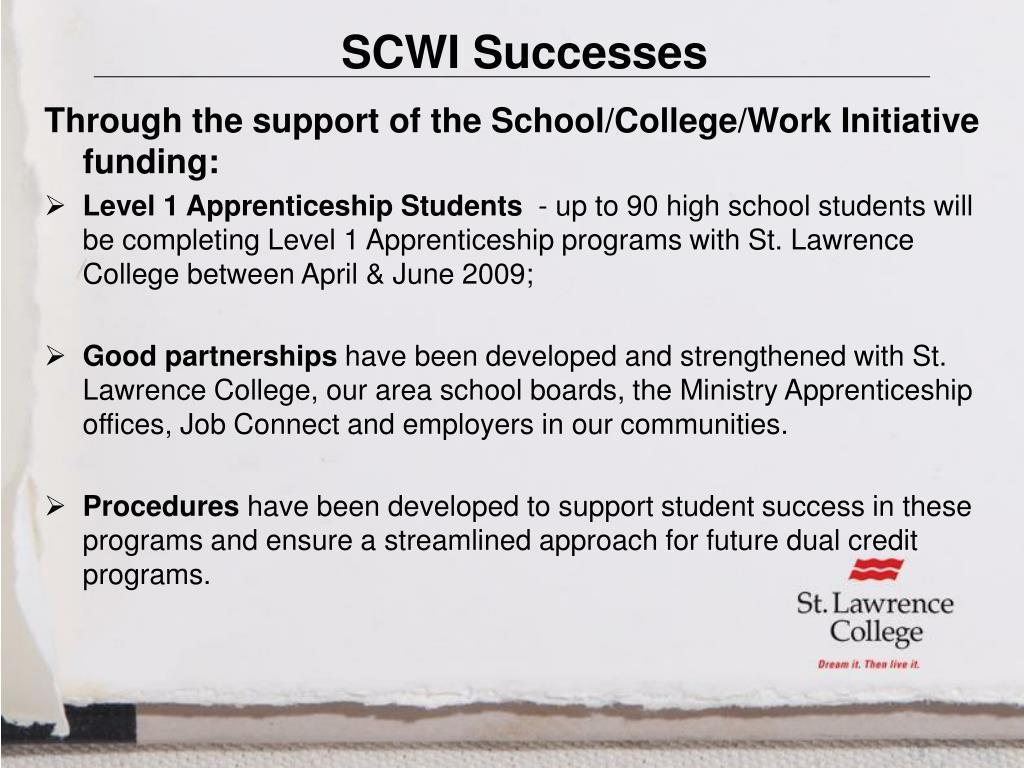 SCWI Successes