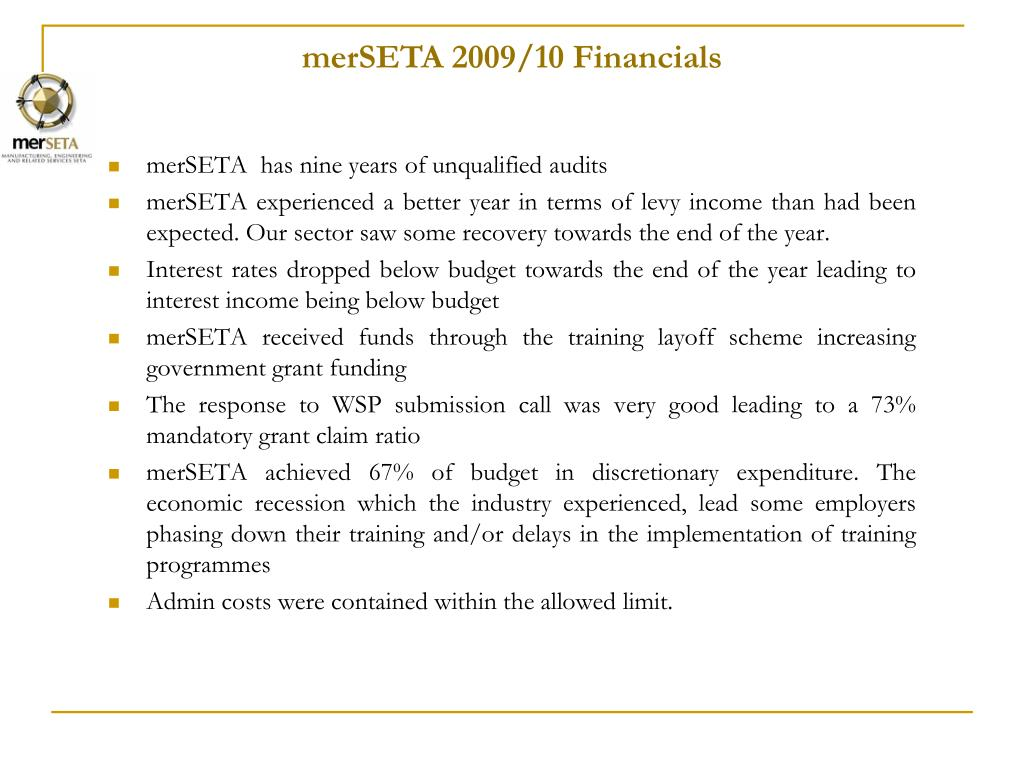 merSETA 2009/10 Financials