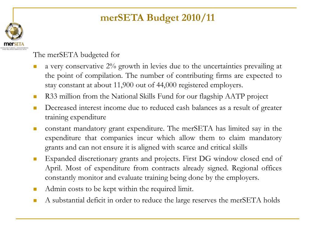 merSETA Budget 2010/11