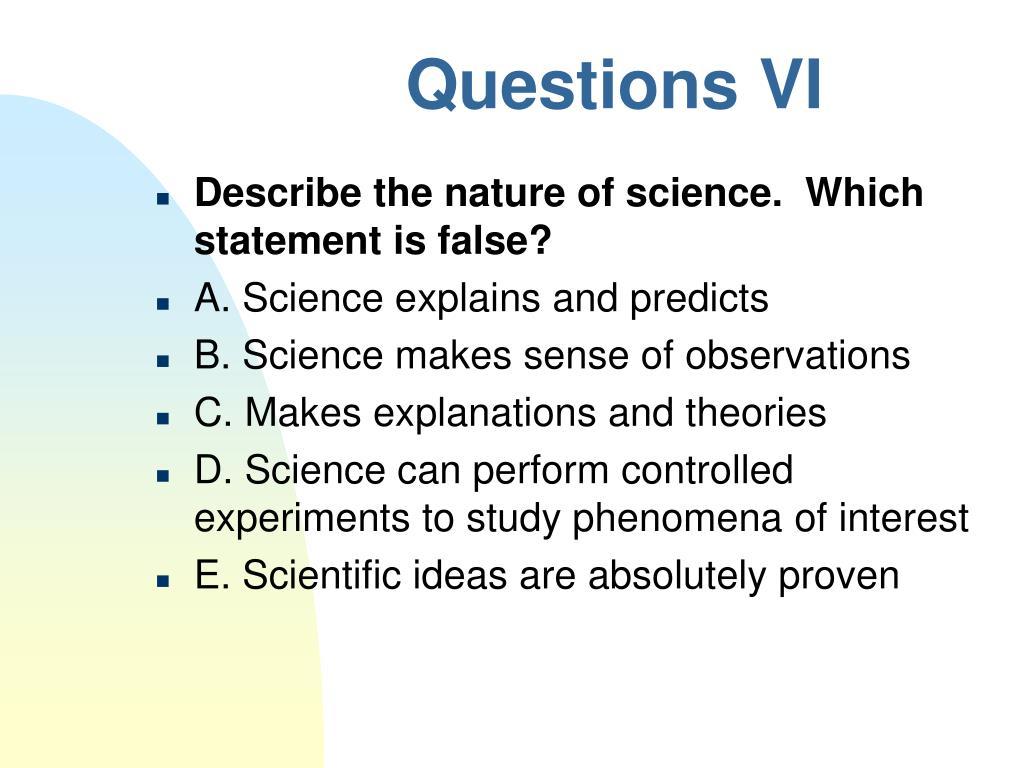 Questions VI