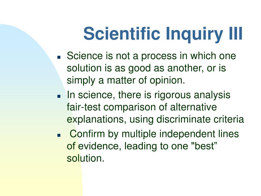 Scientific Inquiry III