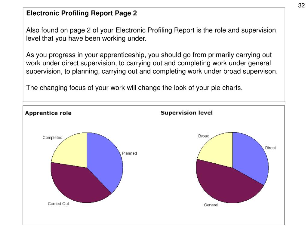 Also found on page 2 of your Electronic Profiling Report is the role and supervision level that you have been working under.