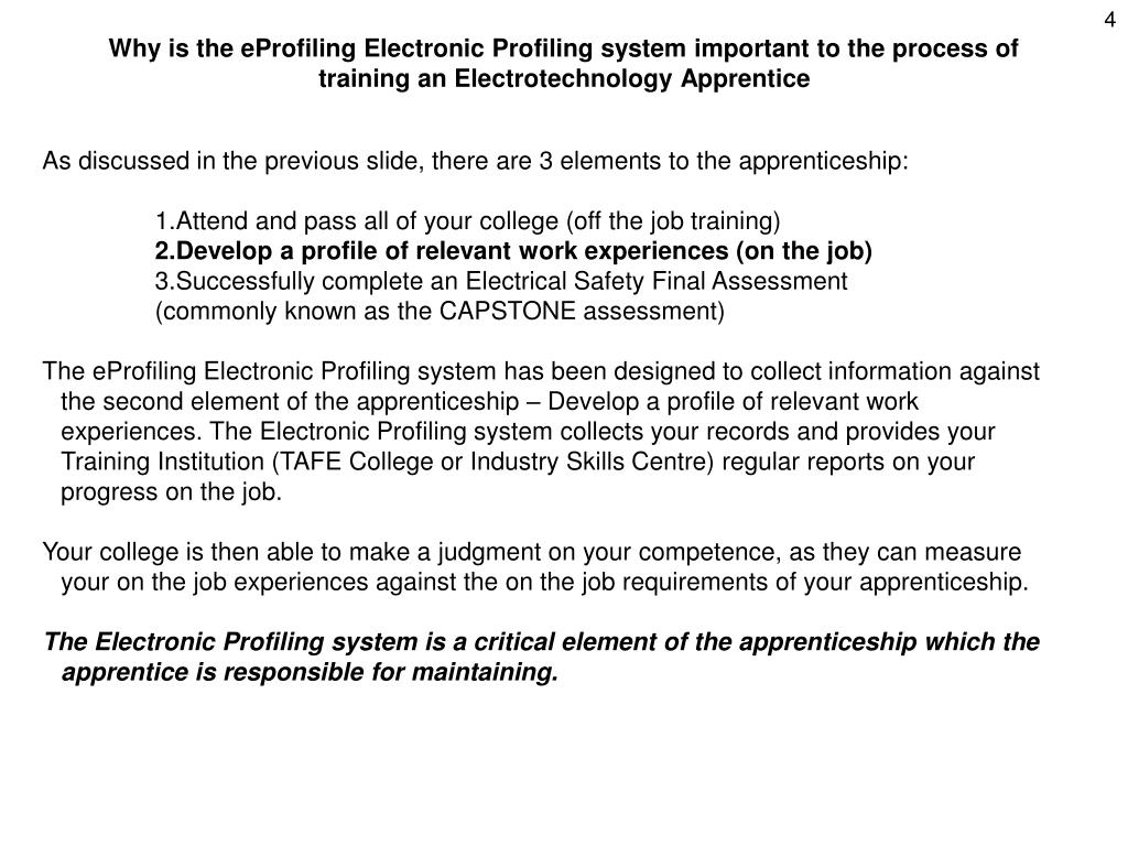 Why is the eProfiling Electronic Profiling system important to the process of training an Electrotechnology Apprentice