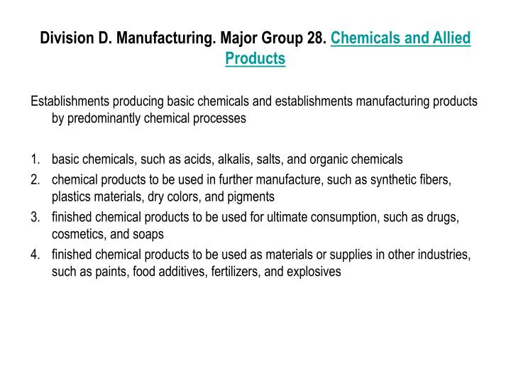 Division D. Manufacturing. Major Group 28.