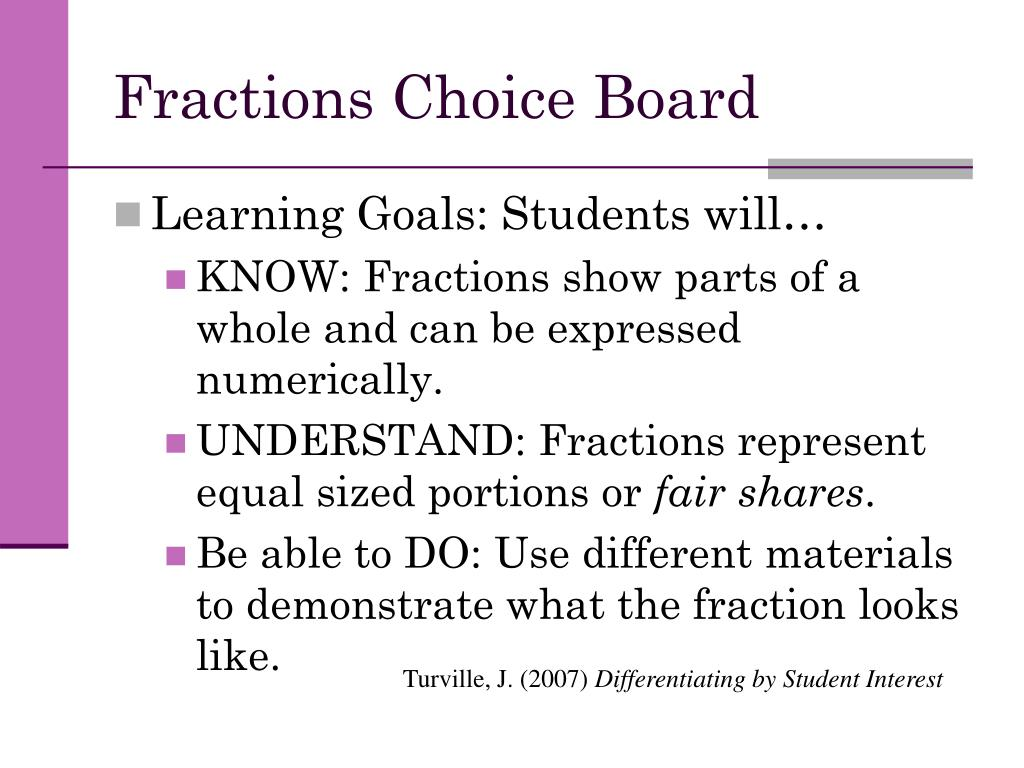 Fractions Choice Board