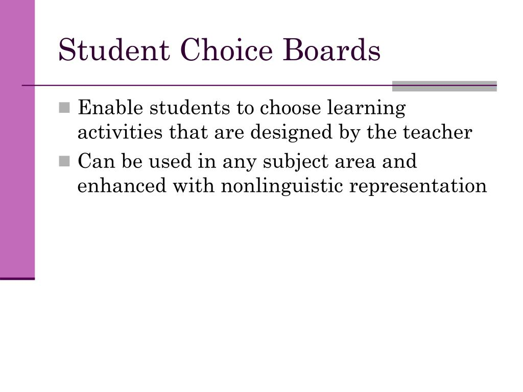 Student Choice Boards