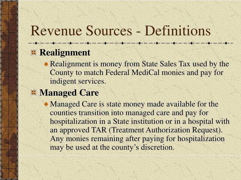 Revenue Sources - Definitions