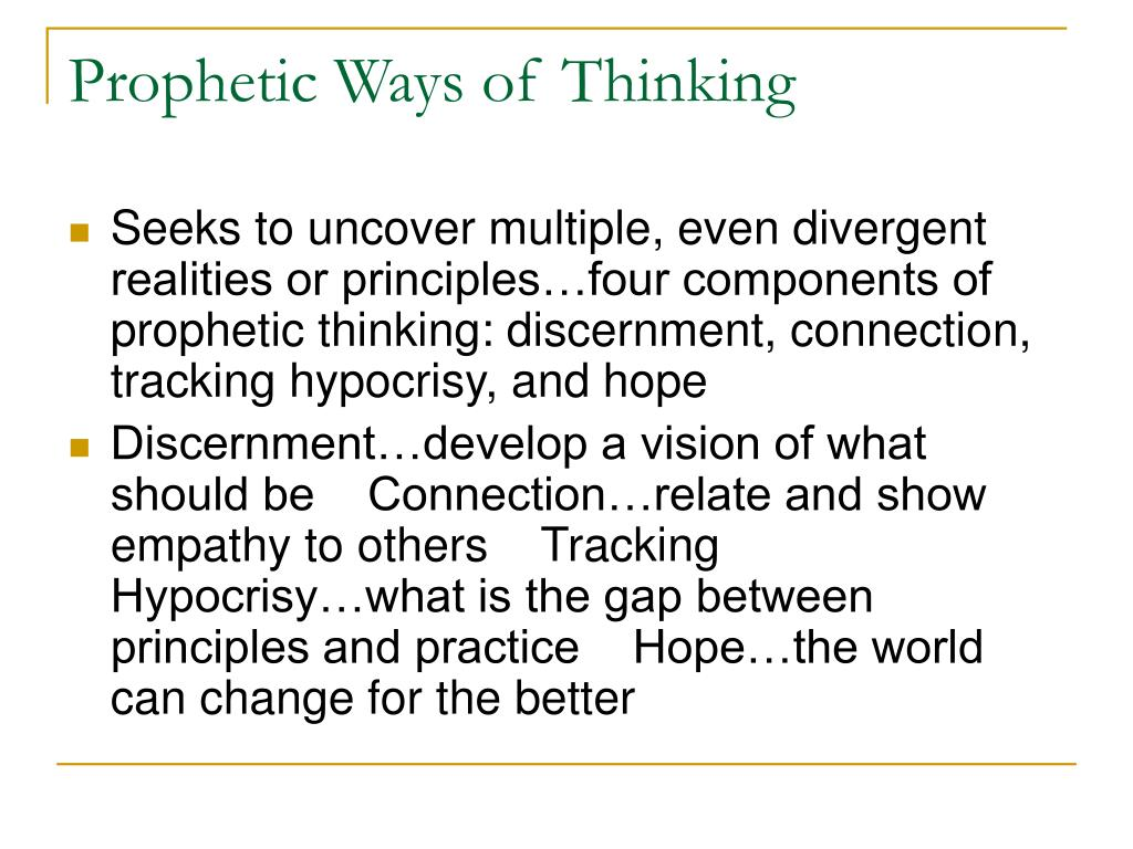 Prophetic Ways of Thinking