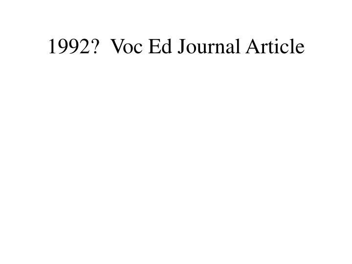 1992?  Voc Ed Journal Article