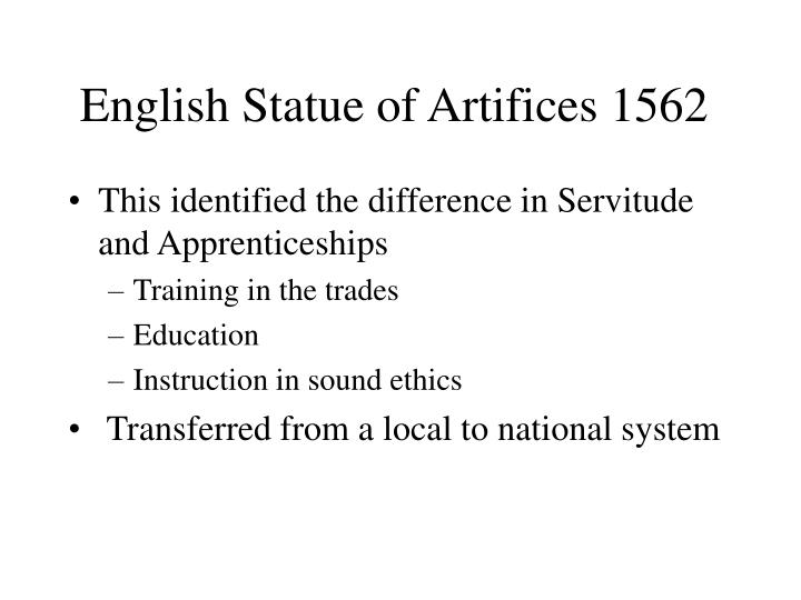 English Statue of Artifices 1562