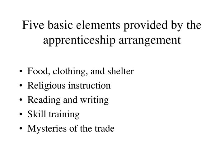 Five basic elements provided by the apprenticeship arrangement