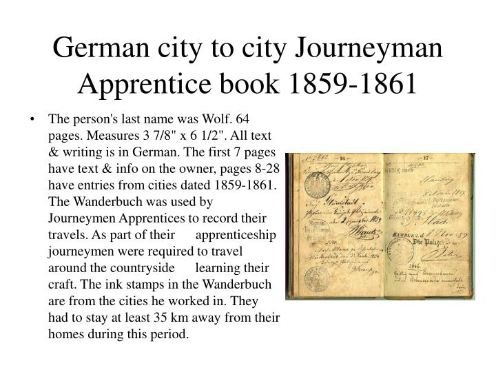 German city to city Journeyman Apprentice book 1859-1861