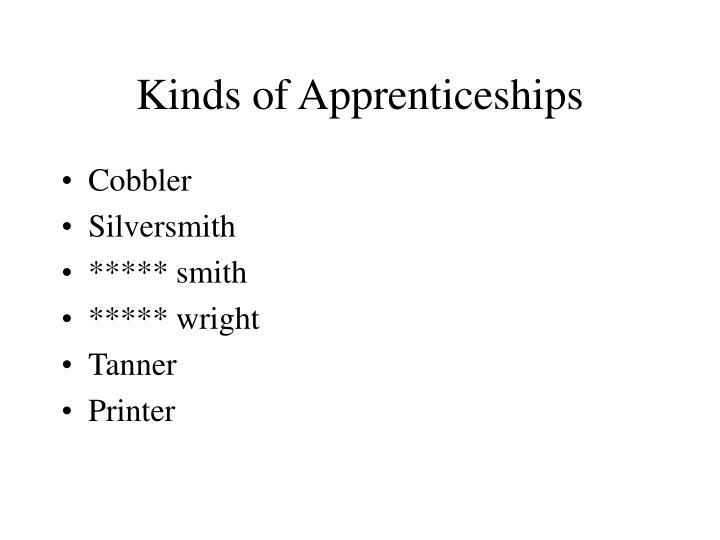 Kinds of Apprenticeships