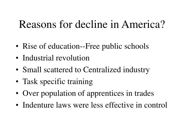 Reasons for decline in America?