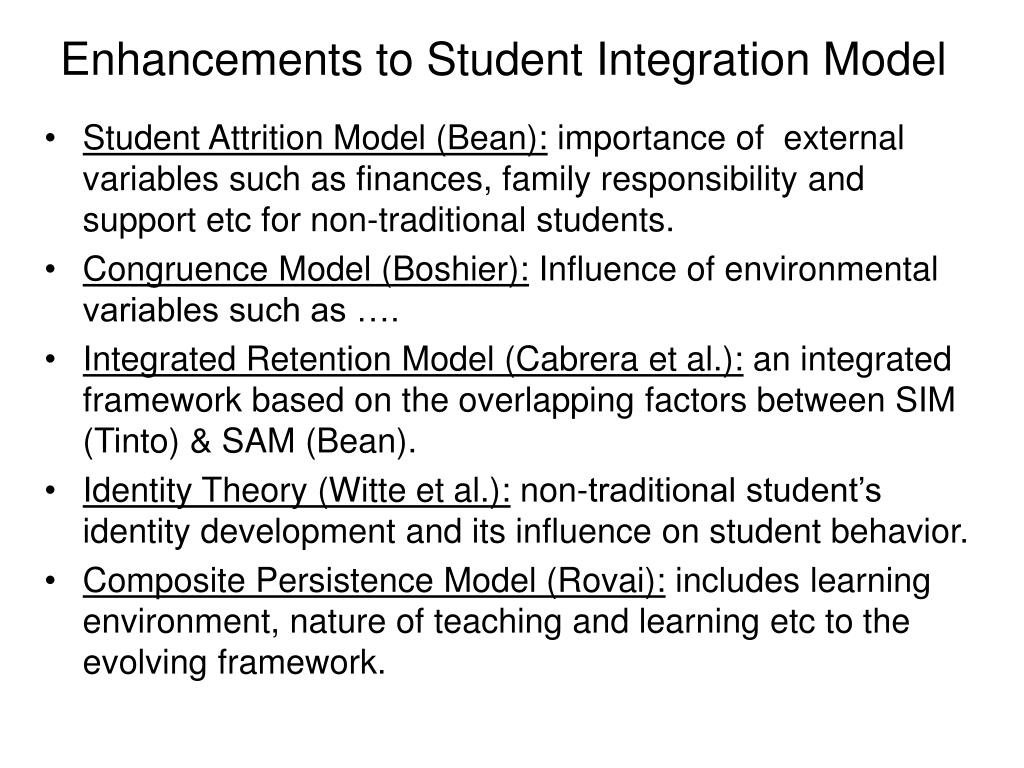 Enhancements to Student Integration Model