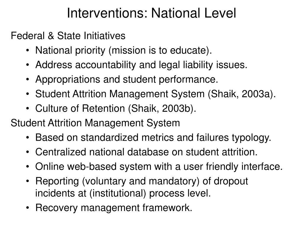 Interventions: National Level