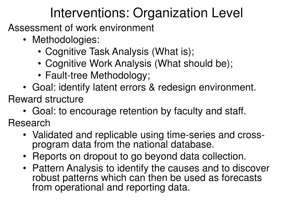 Interventions: Organization Level