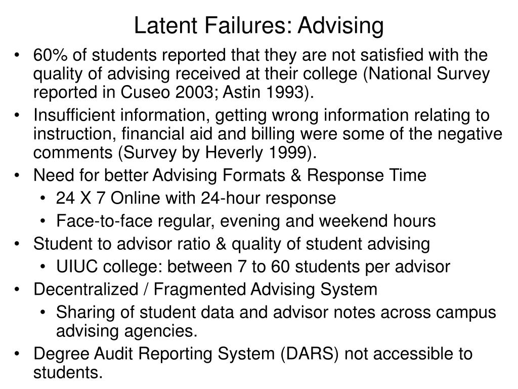 Latent Failures: Advising