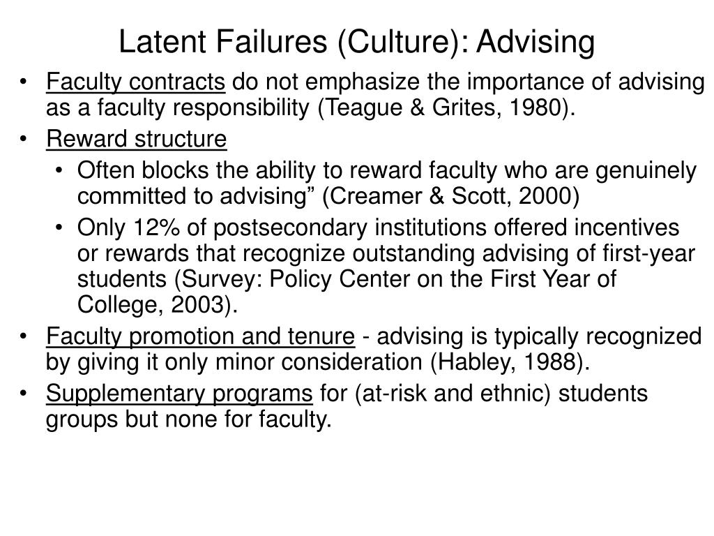 Latent Failures (Culture): Advising