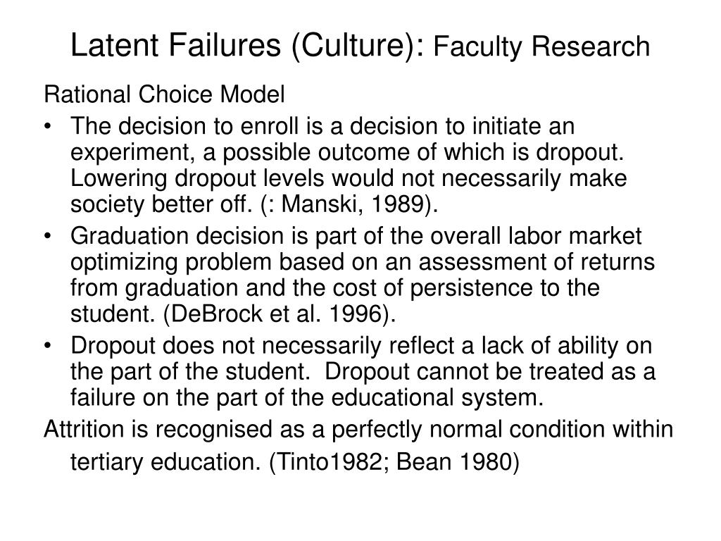 Latent Failures (Culture):