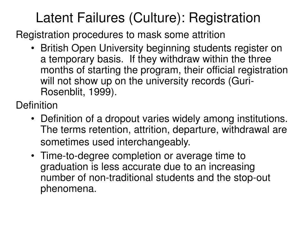 Latent Failures (Culture): Registration