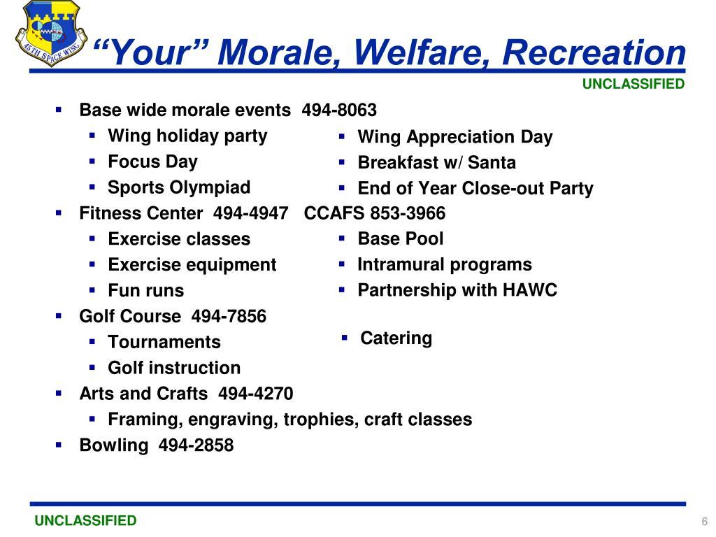 """Your"" Morale, Welfare, Recreation"